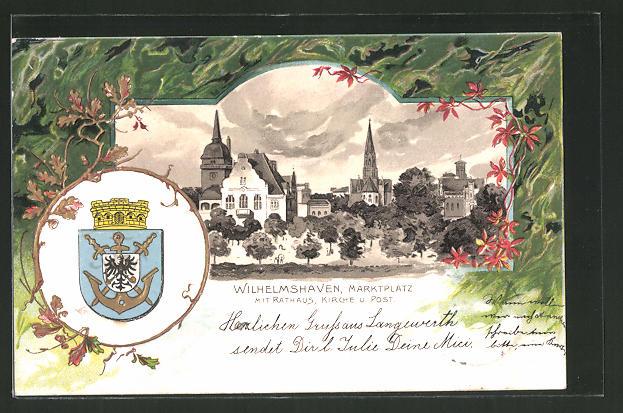 Passepartout-Lithographie Wilhelmshaven, Marktplatz mit Rathaus, Kirche und Post, Wappen