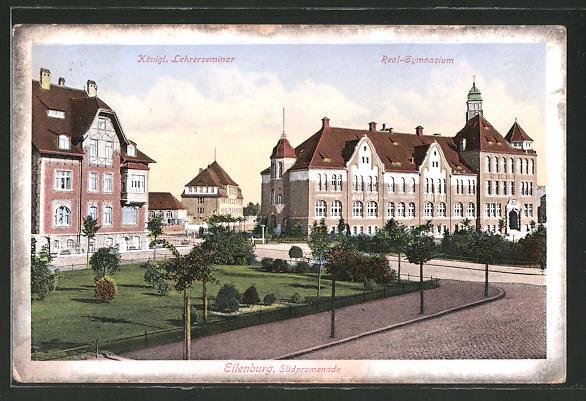 AK Eilenburg, Südpromenade mit Königl. Lehrerseminar und Realgymnasium
