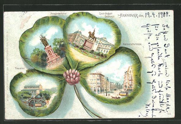 Passepartout-Lithographie Hannover, Kriegerdenkmal, Theater, Karmarschstrasse mit Strassenbahn in einem Kleeblatt