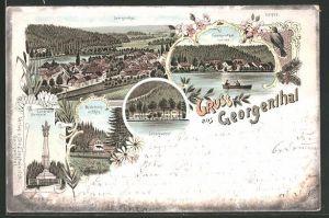 Lithographie Bad Georgenthal, Candelaber-Denkmal, Schützenhof, Totalansicht aus der Vogelschau