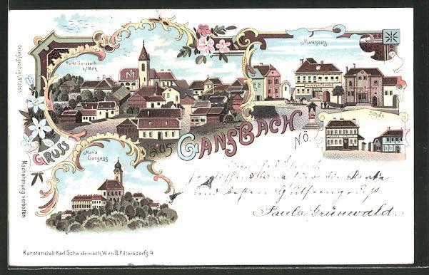 Lithographie Gansbach, Schule, Marktplatz, Kirche Maria Langegg 0