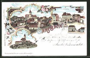 Lithographie Gansbach, Schule, Marktplatz, Kirche Maria Langegg