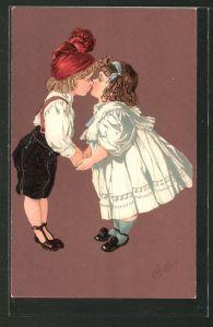 Künstler-AK E. Bottaro: Kinder küssen sich