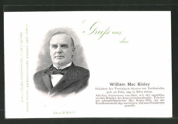 AK Porträt Präsident der USA William Mac Kinley
