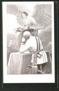 Künstler-AK C. Benesch: Kaiser Franz Josef I. von Österreich betet vor dem Friedensengel