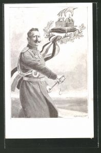 Künstler-AK C. Benesch: Kaiser Wilhelm II. zieht sein Schwert