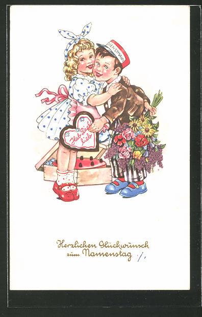 AK Kleiner Dienstmann mit Lebkuchenherz und Blumenstrauss für sein Mädchen