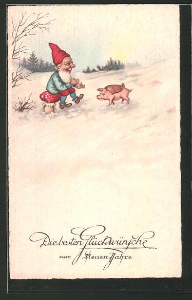 AK Zwerg wartet auf Schwein mit Geldsack