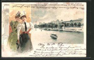 AK Paris, Le Louvre et la Seine vus du Pont-Neuf