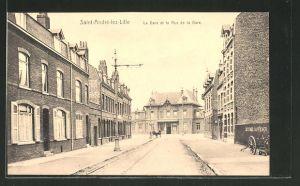 AK Saint-Andréz-lez-Lille, La Gare et la Rue de la Gare
