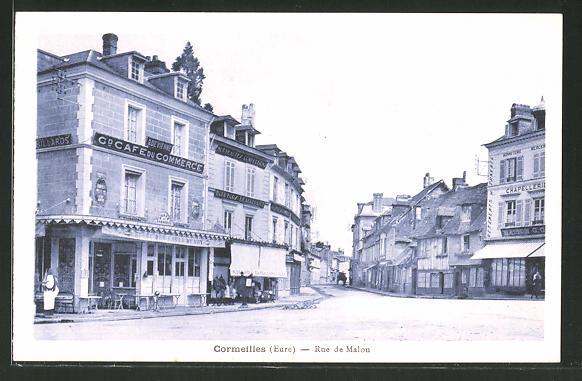 AK Cormeilles, Rue de Malou, Café du Commerce