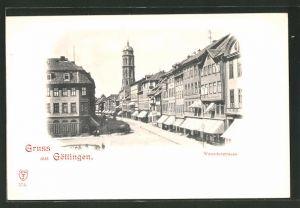 AK Göttingen, Weenderstrasse mit Geschäften und Blick auf die Jacobikirche
