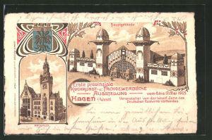 Lithographie Hagen, Erste provinziale Kochkunst- und Fachgewerbliche Ausstellung 1905, Hauptgebäude, Rathaus