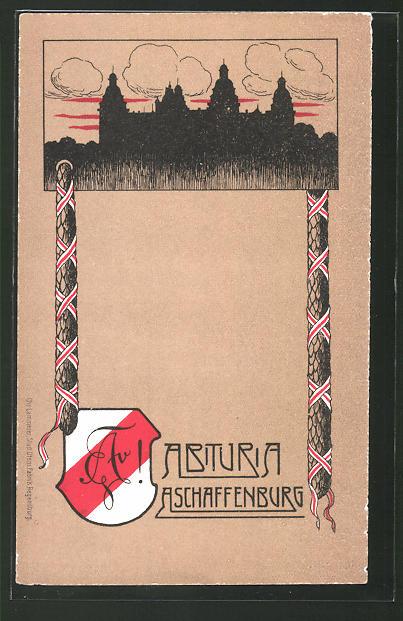 Künstler Aschaffenburg künstler ak aschaffenburg absolvia abituria silhouette der burg nr