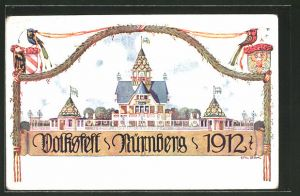 Lithographie Nürnberg, Blick auf das Volksfest 192, PP27C4301, Ganzsache Bayern