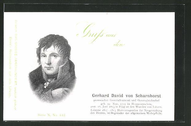 AK Porträt Generalleutnant Gerhard David von Scharnhorst in Uniform, Befreiungskriege