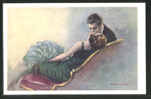 Künstler-AK Tito Corbella: Paar in Abendgarderobe beim Kuss