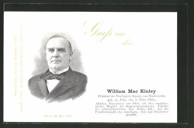 AK Portrait des Präsidenten der USA William Mac Kinley