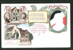 AK Portrait von Friedrich Schiller, Schiller's Elter- und Geburtshaus, Schillers Sterbehaus