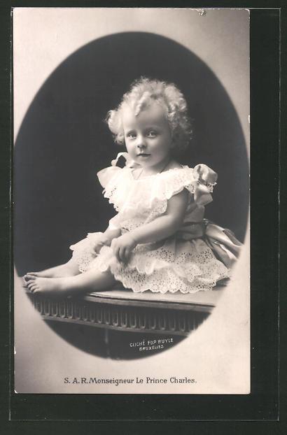 AK Prinz Charles von Belgien als Baby mit blonden Locken