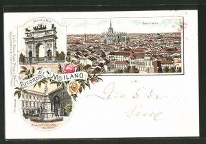 Lithographie Milano, Arco della Pace, Monumento a Leonardo da Vinci, Panorama