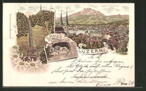 Lithographie Luzern, Totalansicht, Gütsch, Löwendenkmal