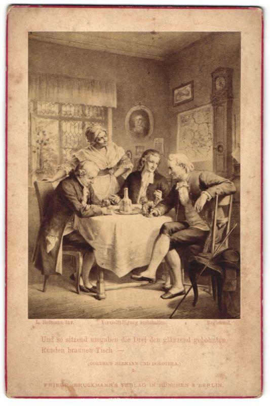Fotografie Friedr. Bruckmann's Verlag, München, Berlin, London, Gemälde von L. Hoffmann, Und so sitzend umgaben...