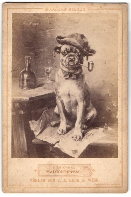 Fotografie J. Löwy, Gemälde von C. Reichert, Malcontenter, Hund mit Pfeife