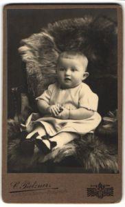 Fotografie C. Pietzner, Brünn, Baby auf Felldecke sitzend