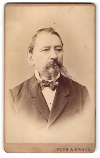Fotografie Pech & Hrbek, Budweis, Portrait Herr mit eindrucksvollem Bart