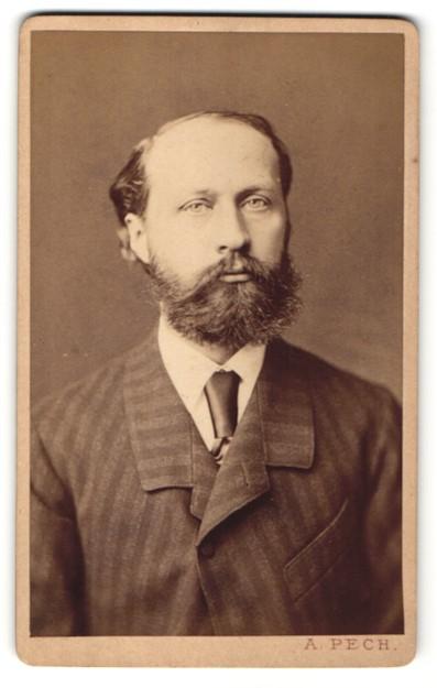 Fotografie A. Pech, Budejovicích / Budweis, Portrait bürgerlicher Herr mit Vollbart