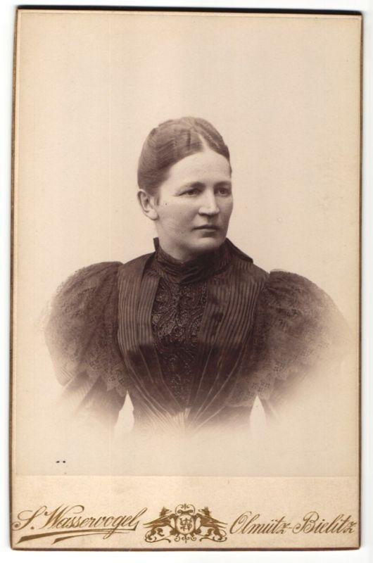 Fotografie S. Wasservogel, Olmütz, Portrait Edeldame trägt schwarzes Kleid