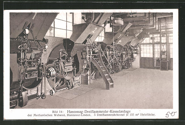 AK Hannover-Linden, Hanomag-Dreiflammrohr-Kesselanlage der ...