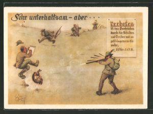Künstler-AK Heinz Geilfus: Soldat schiesst auf einen Hasen wobei andere Jäger in der Nähe sind