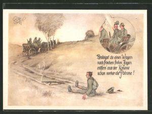 Künstler-AK Heinz Geilfus: Jäger wird von der Kutsche geworfen da seine Kanone noch geladen war