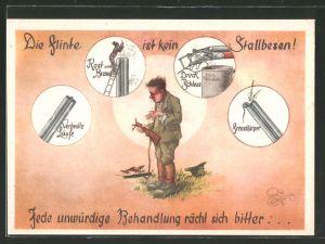 Künstler-AK Heinz Geilfus: Jäger hat sein Gewehr wegen unzureichender Pflege zerstört