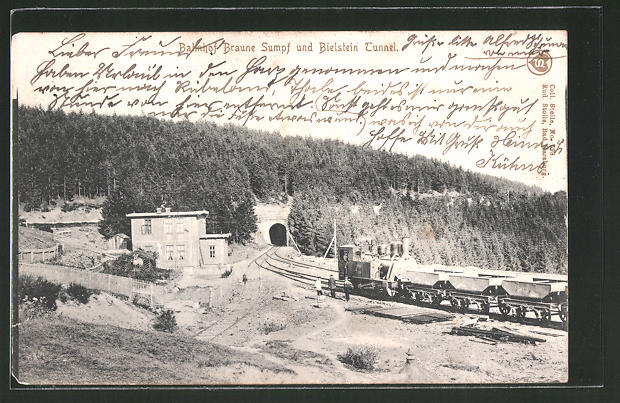 AK Blankenburg, Bahnhof Braune Sumpf und Bielstein-Tunnel