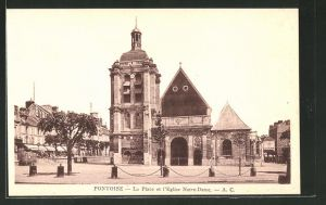 AK Pontoise, La Place et l'Eglise Notre-Dame