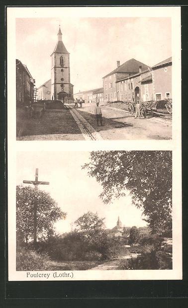 AK Foulcrey, Strassenansicht mit Kirche, Waldpartie mit Kreuz und Blick auf die Kirche