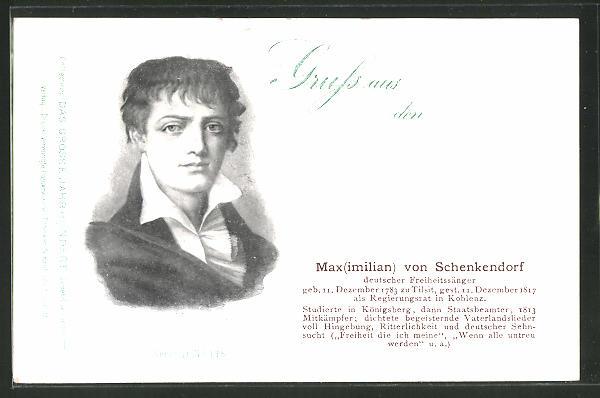 AK Serie: das grosse Jahrhundert, Porträt von Maximilian von Schenkendorf