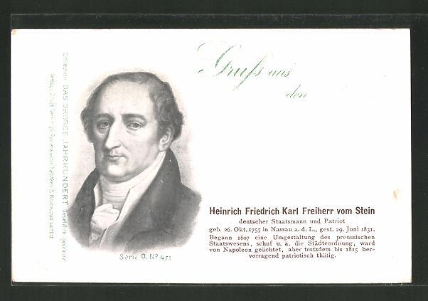 AK Serie: Das grosse Jahrhundert, Porträt von Heinrich Friedrich Karl Freiherr vom Stein