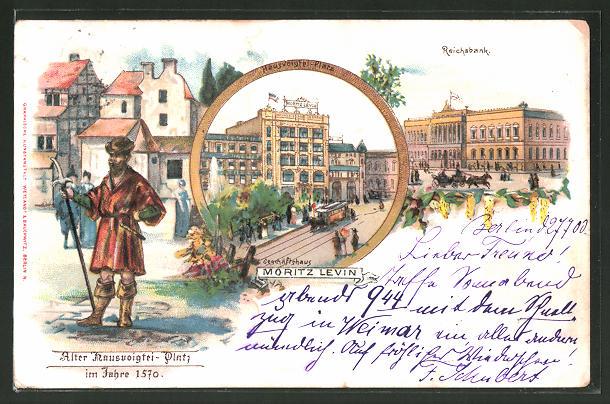 Lithographie Berlin, Geschäftshaus Moritz Levin, Hausvogteiplatz, Reichsbank