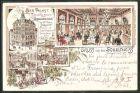 Vorläufer-Lithographie Berlin, 1895, Bierpalast der Schultheiss-Brauerei zum Schultheiss mit Innenansichten