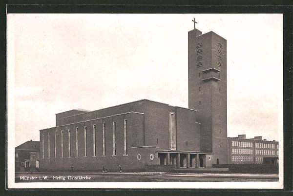 Ak Münster Heilig Geist Kirche Bauhaus Architektur Nr 7524861