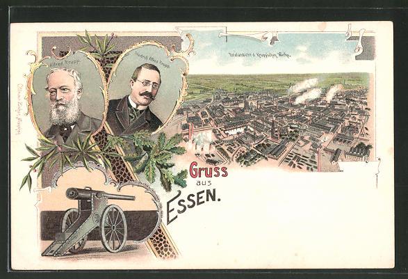 Lithographie Essen, Krupp'sche Werke, Portraits Alfred Krupp & Friedrich Alfred Krupp