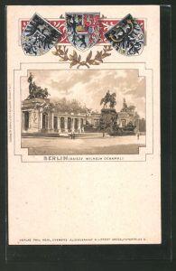 Passepartout-Lithographie Berlin, Blick zum Kaiser Wilhelm Denkmal