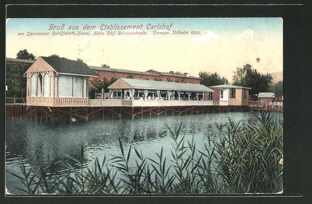 AK Berlin-Charlottenburg, Carlshof am Spandauer Schifffahrtskanal