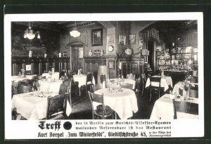 AK Berlin-Schöneberg, Restaurant Zum Winterfeldt, Gastraum, Gleditschstrasse 45