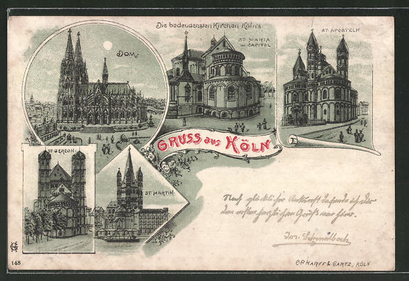 Mondschein-Lithographie Köln, Dom, St. Maria Kirche, St. Martin Kirche, St. Aposteln Kirche