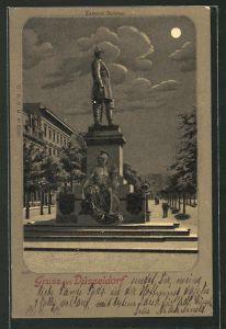 Mondschein-Lithographie Düsseldorf, Partie am Bismarck-Denkmal